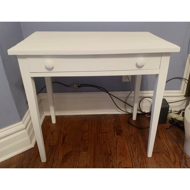 Rustic 1960s Boho Chic Desk Painted in White Chalk Paint For Sale - Image 3 of 13