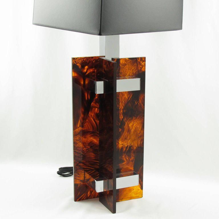 Gaetano Sciolari Mid Century Tortoiseshell Lucite And Chrome Table Lamp    Image 2 Of 8