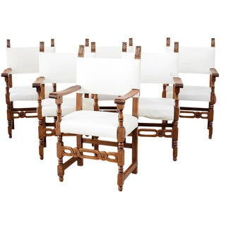 Mid 19th Century Italian Tuscan Farmhouse Set of Six Walnut Armchairs- Set of 6 For Sale
