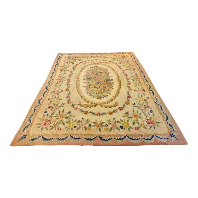 Early 20th Century American Large Hooked Rug For Sale