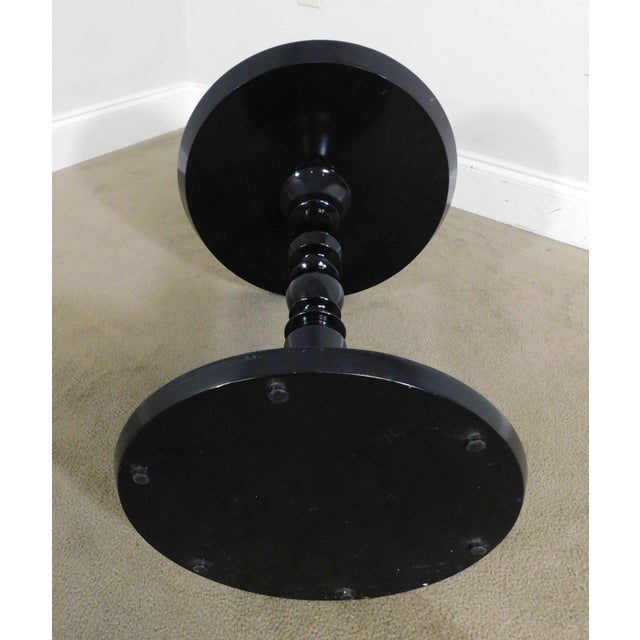 Modern Black Lacquer Round Mirror Top Pedestal Side Table For Sale - Image 9 of 13