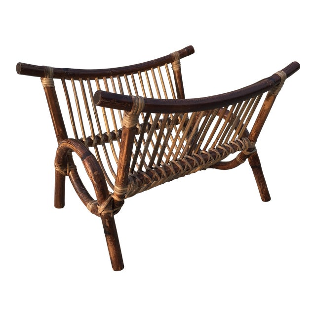 Bentwood & Rattan Magazine Rack For Sale