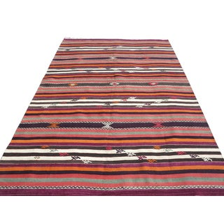 "1950's Turkish Kilim Striped Handmade Rug-5'10'x9"" For Sale"