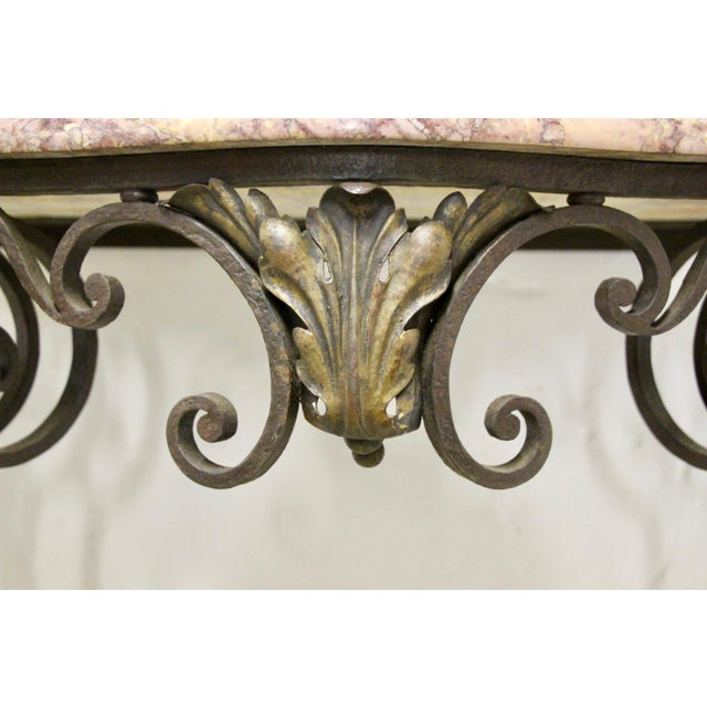 Metal Wrought Iron Wall-Mounted Demilune Table For Sale - Image 7 of 8
