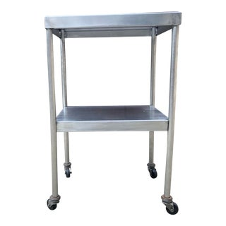 Vintage Industrial Medical Steel Cart Table on Casters For Sale