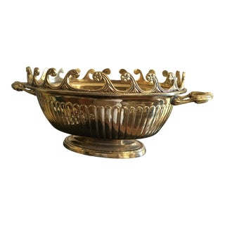 Mid Century Solid Brass Jardinere Container For Sale