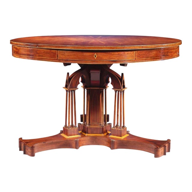 Mahogany Drum Table by Alphonse Giroux et Cie For Sale