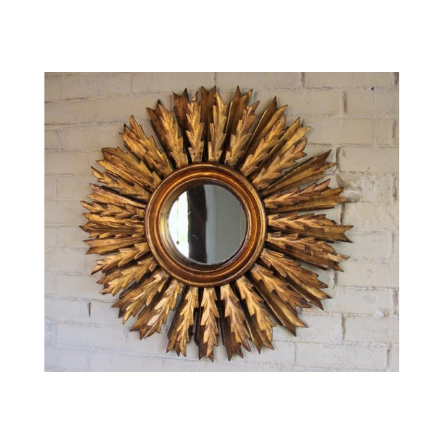Gold Mid-Century French Double Layer Sunburst Mirror With Original Mirror Glass For Sale - Image 8 of 10