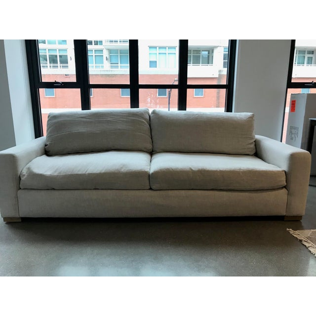 Restoration Hardware Maxwell Upholstered Sofa in Belgian Linen For Sale - Image 11 of 11