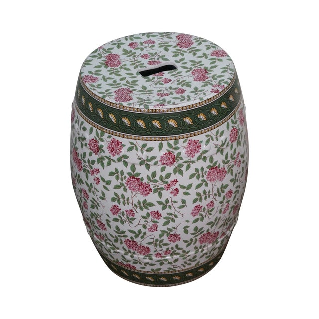 Vintage Floral Pattern Pottery Garden Seat - Image 1 of 10