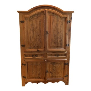 Handmade Distressed Rustic Pine Armoire For Sale