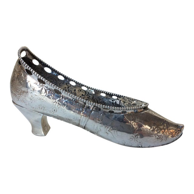 Antique Life Size Silver Shoe For Sale