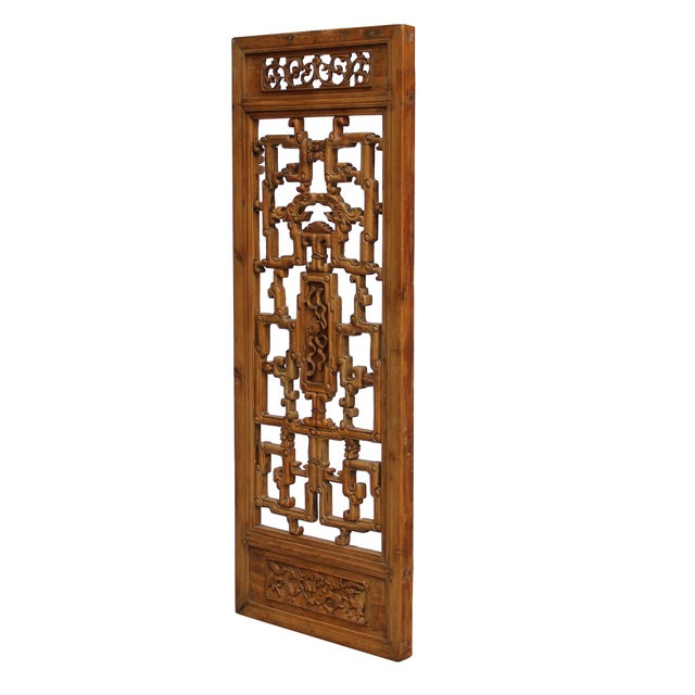 Asian Chinese Vintage Light Brown Relief Motif Wood Wall Hanging Art For Sale - Image 3 of 11