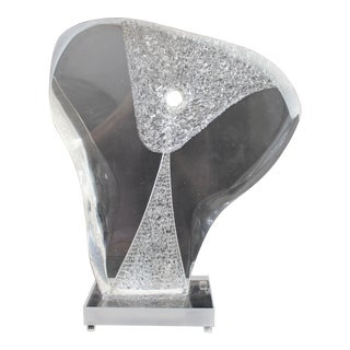 Contemporary Modern Nani Signed Clear Lucite Acrylic Abstract Table Sculpture For Sale