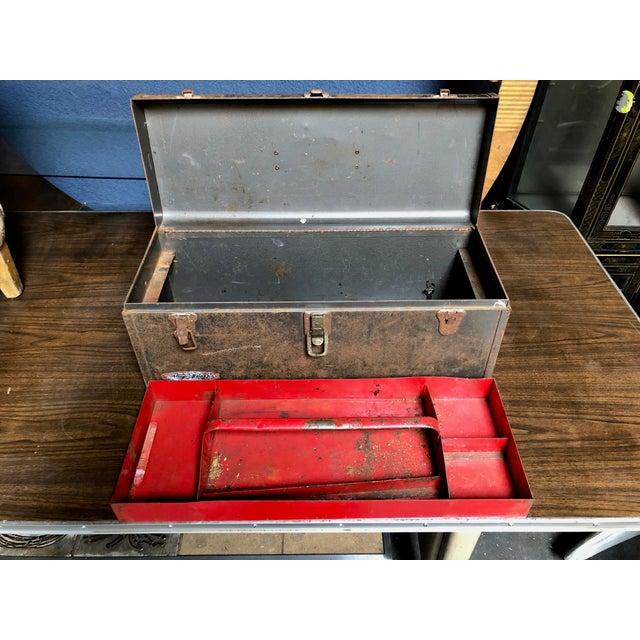 Metal Vintage Car-Racing Crew Rusted Metal Patina Tool Box For Sale - Image 7 of 11
