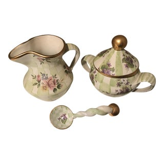 Vintage Collectible Mackenzie Childs Sugar & Creamer Set For Sale