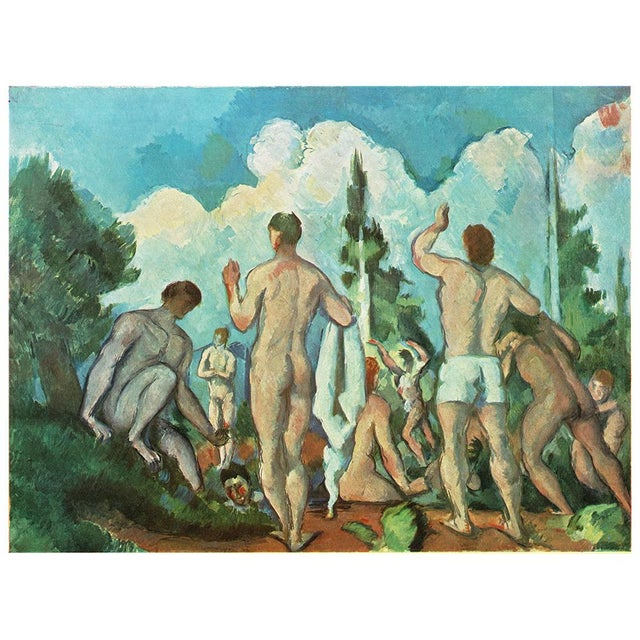 An impressive large, rare vintage plate after Bathers (1892-1894) painting by Paul Cezanne from the artist's portfolio...