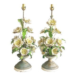 Pair Vintage Italian Tole Painted Flower Lamps