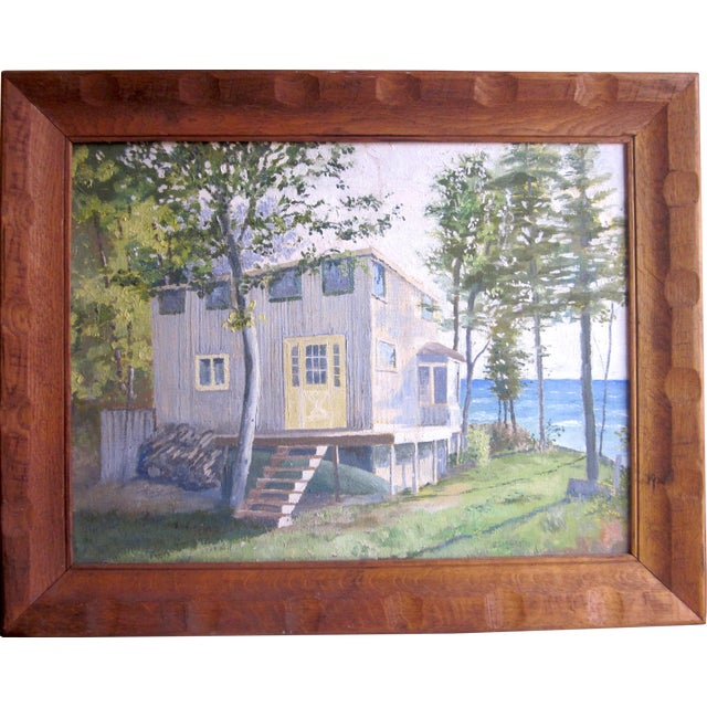 1971 Vintage Rural Cottage Scene Signed Acrylic on Canvas Painting For Sale