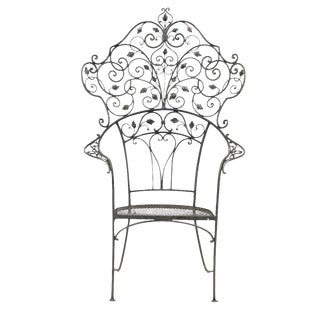 1920s Vintage Wrought Iron Garden Throne Chair For Sale