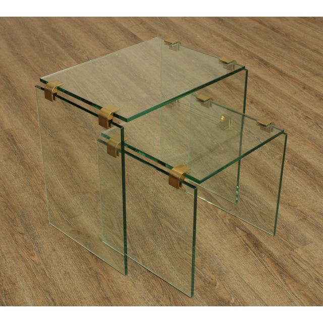 Transparent Mid Century Modern Floating Glass & Brass Set 2 Nesting Tables For Sale - Image 8 of 13