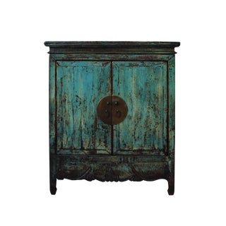 Chinese Distressed Rustic Blue Foyer Console Table Cabinet For Sale