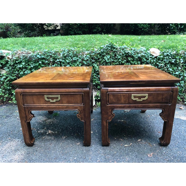 Wood 1980s Campaign Thomasville Mystique Side Tables - a Pair For Sale - Image 7 of 7