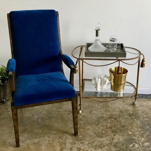 Metal Mid-Century Modern Blue Velvet Dining Chairs - Set of 4 For Sale - Image 7 of 11
