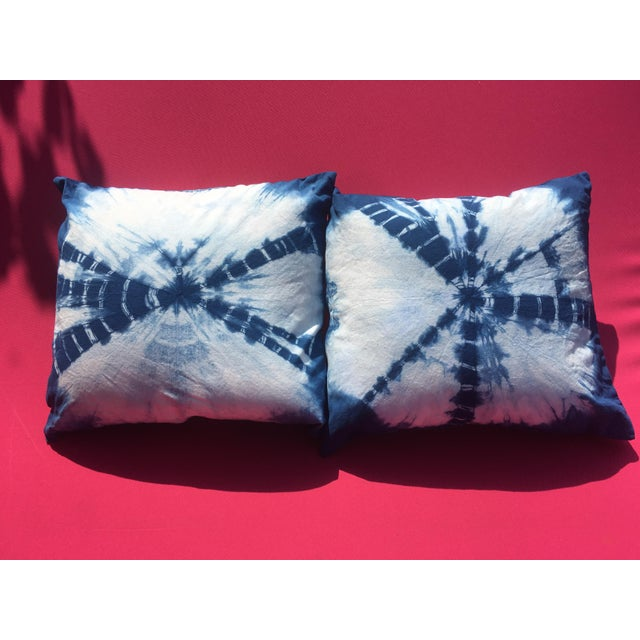 White Boho Chic Indigo Hand Dyed Throw Pillows - a Pair For Sale - Image 8 of 8