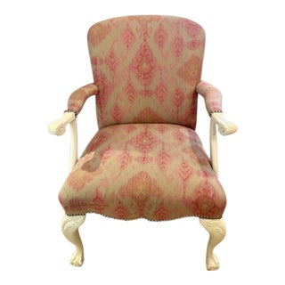 1980s Vintage Lacquered Queen Anne Claw Foot Style Carved Open Arm Chair For Sale