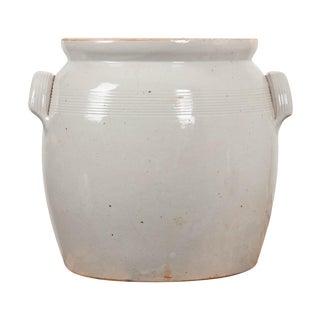 Large French Vintage Glazed Earthenware Crock