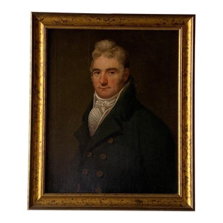 19th Century British School Portrait of a Gentleman in a Cravat Oil Painting, Framed For Sale
