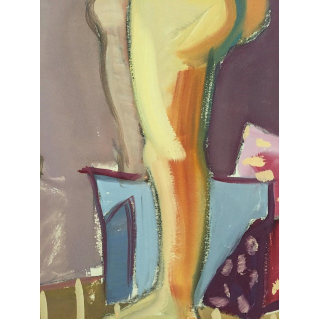 "1950s 1950s Original Bay Area Figurative Movement Gouache Painting ""Backside"" For Sale - Image 5 of 6"