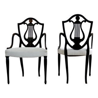 """Neoclassical Painted 19th Century """"Shield Back"""" Chairs For Sale"""