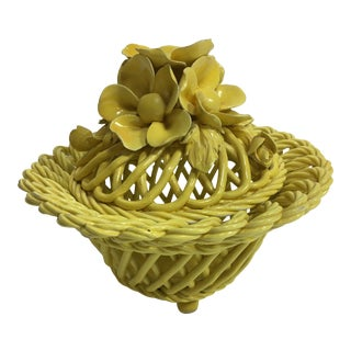 1950s Italian Ornate Yellow Pottery Bowl For Sale