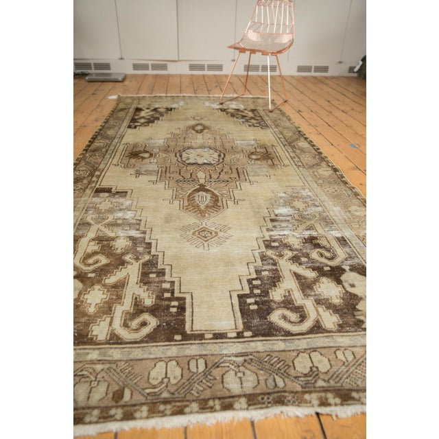 "Vintage Distressed Oushak Rug Runner - 4'9"" x 10'2"" For Sale - Image 10 of 11"