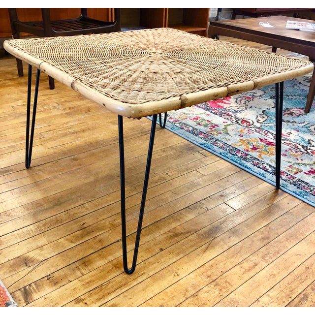 Mid Century Modern Wicker Coffee Table With Hairpin Legs For Sale In Boston - Image 6 of 6