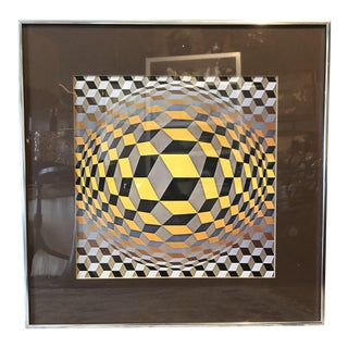Mid-Century Modern Victor Vasarely Print For Sale