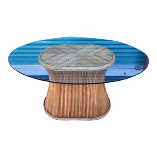 Mid-Century Modern Oval Shape Split Reed Dining Table For Sale
