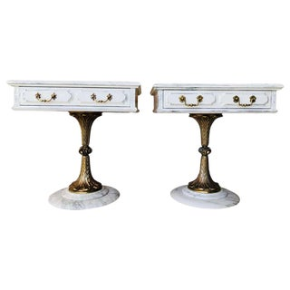 Pair of White Nightstands With One Drawer and Bronze & Marble Pedestal For Sale