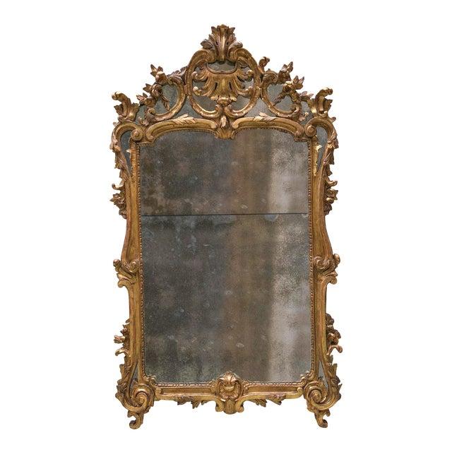 18th Century Carved Gilt Wood Louis XV Mirror, Provenance Paris France For Sale