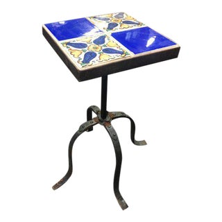 20th Century Spanish Tile Top Side Table For Sale
