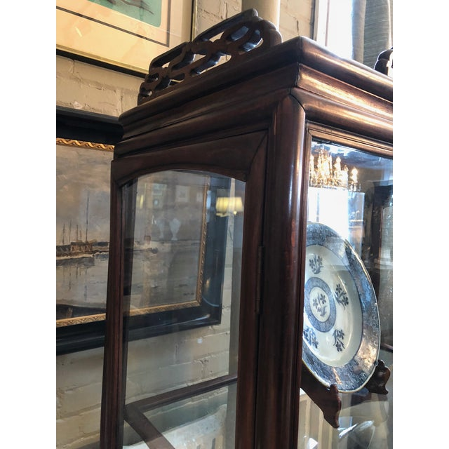 19th Century Chinese Rosewood Hand Carved 3 Shelf Curio Display Cabinet With Two Side Doors For Sale - Image 11 of 13