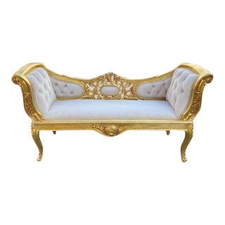 French Louis XVI Style Settee/Bench/Sofa With Velvet For Sale