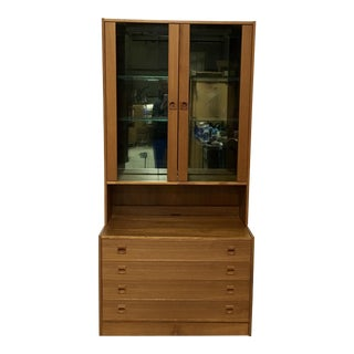 Danish Modern Light-Up Curio Cabinet For Sale
