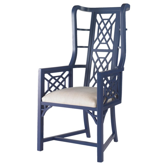Contemporary Taylor Burke Home Fretwork Accent Chairs - A Pair For Sale - Image 3 of 3