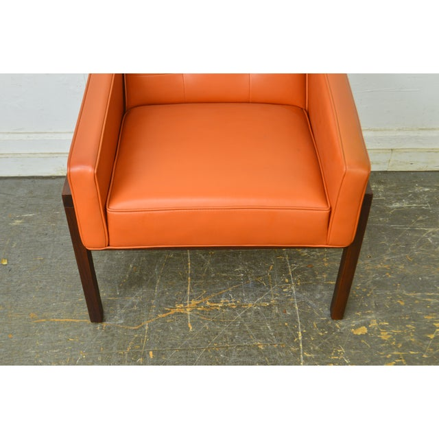 Mid Century Modern Pair of Walnut Frame Orange & Blue Lounge Chairs For Sale - Image 11 of 13