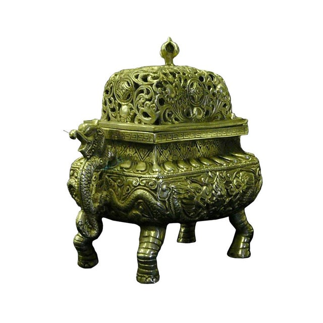 Asian Chinese Silver Pewter Color Dragon Incense Burner Holder For Sale - Image 3 of 6
