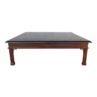 "Maitland Smith Chinese Chippendale Tessellated Stone Cocktail Table 50""w X 40""d For Sale"