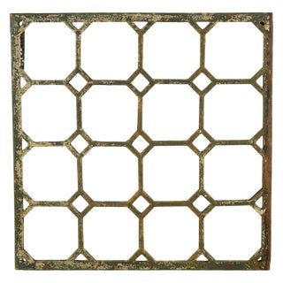 Antique Cast Iron Geometric Mirror